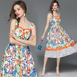 Großhandel Nizza Pop Sommer Pop Womens wunderschöne gedruckte Kleid im langen Absatz Kleid Rock Strand Rock