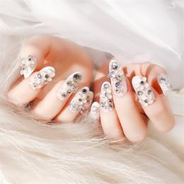 24Pc Shining Rhinestone Wedding False Nails Lace Glitter Shinning Gems  Design Oval Round Head Full Fake Nails with Adhesive Tabs 59168b9c3078