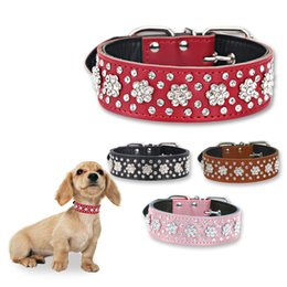 small dog collar flowers Australia - Rhinestone Leather Dog Collar Pet Flower Collars 1.5inch Wide For Medium Large Dog Pet Wholesale
