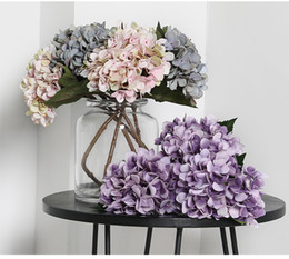 cartoon wooden table NZ - Silk White Petals Hydrangea Branch Artificial Flowers Branch Bridal Wedding Flower Hand Balls Home Table Decor Free Shipping