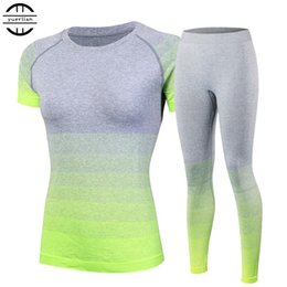 Wholesale Brand New Women s tracksuits Yoga Sets Breathable Sport Suit Fitness Gym Running Set Yoga Shirt Top Pants Green For Girls