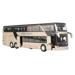 $enCountryForm.capitalKeyWord Australia - Alloy Pull Back Bus Model 1:32 High Simulation Double-Decker Sightseeing Bus Flash Toy Car Children'S Toy Sound And Light Pull
