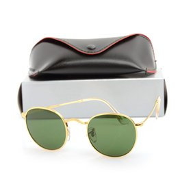 Mens Wholesale Sun Glasses Australia - New Mens Round Sun glasses Designer Glasses Eyewear Sun glasses Glass Lens Womens Sunglasses Round Unisex Sunglasses with cases and boxs