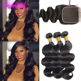 ExtEnsion online shopping - Brazilian Human Hair Bundles With X7 Lace Closure Natural Color Body Wave Virgin Hair Extensions With Seven By Seven Closure
