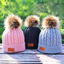 Grey Bobble Hat Australia - Kids Winter Hats Girls Knitted Newborn Bonnet Winter Cotton Infant Warm Fur Pompom Beanie Girls Bobble Hat Toddler Boys Cap
