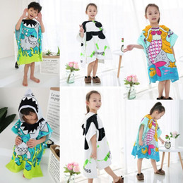 9 styles Cartoon animal bathrobe shark panda cute boys girls nightgown  fashoion children hooded towels bathrobe aa1d7aeb8