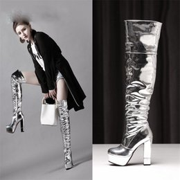 super long boots NZ - Sexy 12.5cm Thick with Super High-heeled Patent Leather Pole Dance Over The Knee Female Long Boots