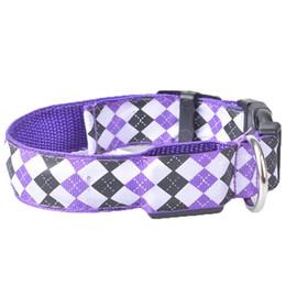 Nylon Dog Collar Wholesale UK - LED Illuminated Dog Collar Fashion Plaid Built-in Button Battery Nylon Casual Strap Modern Pets Supplies