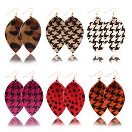 horse chandelier Australia - Autumn and Winter New Horse Fur Earrings Large Roll Leaf Shape Leather Earrings 6.2x3.5cm