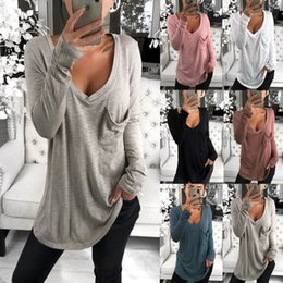 Wholesale blue pocket shirt resale online - European and American T shirt Classic Women s V neck Loose Pocket Long Sleeve T Shirt