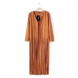 fringed kimono NZ - Texas Cowgirl Solid Duster top dress jacket Camel colored casual long-sleeved suede fringed cardigan jacket kimono Prado Verde Duster