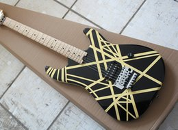 $enCountryForm.capitalKeyWord Australia - Free shipping Factory Black Electric Guitar with Yellow Strips,Double Rock,Chrome Hardware,Dots Frets Inlay,H Pickup,High Quality