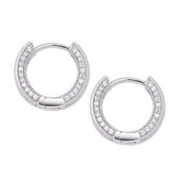Big diamond hoop earrings online shopping - 2019 New Big CZ Diamond Earring Jewelry Silver Gold Plated Stud Earring Women Men Earrings Cross Copper