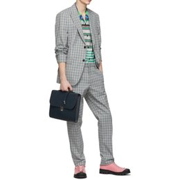 $enCountryForm.capitalKeyWord NZ - Classic British Plaid Men Wedding Tuxedos Handsome Slim Fit Two Button Casual Prom Suits Man Party Blazer Suit (Jacket+Pants)