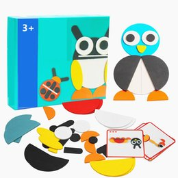 develop board UK - 50pcs Animal Wooden Jigsaw Puzzle Board Set Colorful Baby Educational Wooden Toy for Children Learning Developing Toys Y200413