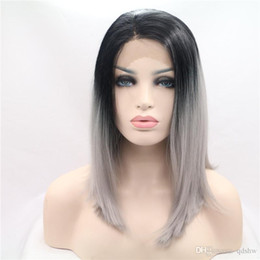 black women two toned wigs 2019 - Synthetic Grey Wig Short Bob Heat Resistant Black To Grey Two Tone Ombre Bob Synthetic Lace Front Wigs For Women discoun