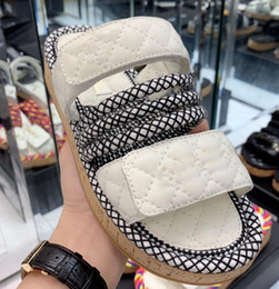 Wholesale 2019 women camillia sandals rope strappy white leather Fashion leather luxury sandals flat slides heel beach shoes open toe with box