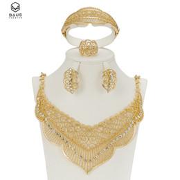 $enCountryForm.capitalKeyWord NZ - Latest Original Fashion Dubai Gold color full crystal bridal wedding jewelry sets Italian set for women Party Accessories