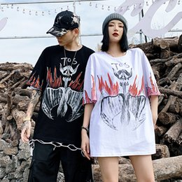 skull printed shirts Australia - Guochao Hand-Painted Pterosaurus Skull Print Short-Sleeved Mens Summer Popular Brand Hip Hop Hiphop Couples Half-Sleeve T-shirt Tide