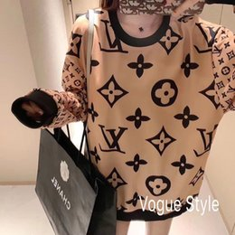 body sweaters Canada - 2020 web celebrity round neck sweater full body printed sweater female middle long lower body missing loose large size parquet couples