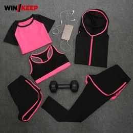9b122a52bf3 5 PCS Women Running Set Yoga T-Shirt Fitness Bra Sports Wear Gym Clothing  Lady Workout Set Sport Uniform Jogging Suits Tracksuit  213532