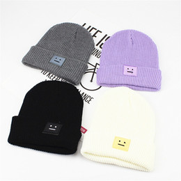 ce470c4c Square Smiley Face Labeling Knitted Hat Autumn Winter Woollen Yarn Keep  Warm Cap Men And Women Outdoor Fashion Beanie Fold 6 5ll I1