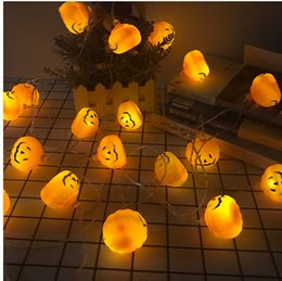 Wholesale New Halloween Pumpkin string light Orange Christmas Hanging Decoration Lanterns decor String decorative lamp series battery box led pumpkin
