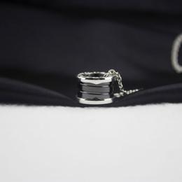 Ring Slides Australia - Woman black Ceramics Ring Pendant Necklace Silver Chain 925 Long Necklace Designer Jewelry Luxury Fine Jewelry