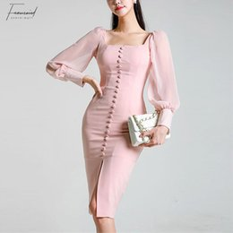 long sleeve maxi dresses Australia - 2019 New Elegant Party Dress Long Sleeve Square Collar Pink Lace Slim Pencil Dress Bodycon Formal Dress Autumn Spring