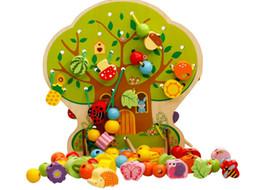Kids Block Games Australia - eads free shipping Free shipping Kids Cartoon's home wearing rope games, Children's wooden blocks, Wood educational lacing animal fruit b...