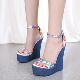 d493a58665 Romantic blue floral printed high heels platform wedge shoes ladies summer  sandals 16cm size 35 to 40