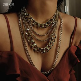 Wholesale SHIXIN Punk Exaggerated Big Layered Thick Cuban Link Chain Choker Necklace Women Fashion Hippie Modern Night Club Jewelry Gifts