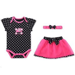 8d87894dec61 one year girl baby dress 2019 - 3pcs One Set Baby Girls Rompers Short  Sleeved Lovely