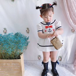infant knee sleeve NZ - 2020summer New Girls Navy Style Set Cute Doll Shirt Dress Infant VTG Baby Puff Sleeve Vintage Smocking Toddler Girl Clothes