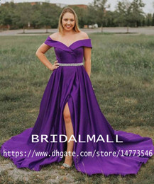 Side dreSSing online shopping - Off The Shoulder Purple Matte Satin Long Prom Dresses Beaded Sash Formal Party Gowns High Side Slit Red Evening Dress Pageant Wear