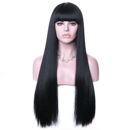 Black wigs Bangs online shopping - Long Synthetic Wigs With Bangs For Women Black Heat Resistant Fiber Cosplay Costume Wig