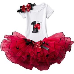 ladybug clothing UK - 1 2 Years Birthday Outfits Summer Kids Ladybug Dresses For Girls Baby Mini Mouse Costume Infant Party Dress Toddler Girl Clothes