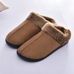 winter wear shoes 2019 - Home slippers for men Winter Keep warm Short plush Suede Sewing Indoor shoes Non slip Wear resistant Velvet Soft male sl