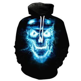 hipster clothes UK - Autumn and Winter Clothing Foreign Trade Skull-printed Pocket Hoodie for Young Men Designer Hoodies Fashion Hipster Hoodies