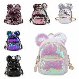 cute mini backpacks wholesale Canada - Women Sequins Ear Backpack Cute Bear Ears Double mini cartoon Shoulder Bag Children Girls Sequined Travel School Knapsack AAA1684