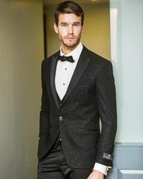 $enCountryForm.capitalKeyWord Australia - Shiny Black Groom Wedding Tuxedos Notched Lapel Groomsmen Mens Suits Excellent Man Jacket Blazer 2 Piece(Jacket+Pants)