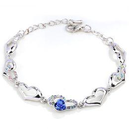 $enCountryForm.capitalKeyWord Australia - Crystal Heart Love to Love Charm Bracelets Bangle cuff Women Girls Fashion Jewlery Christmas Gift 162317