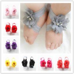 Set Barefoot Shoes NZ - Toddler Baby Chiffon Water Drill Flower Foot Belt Set Sandals Flower Shoes Barefoot Foot Infant First Walker Shoes Photography Props A32003