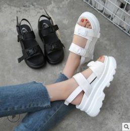 Thick Sole Sandals Australia - Summer Women Sandals Buckle Design Black White Platform Sandals Comfortable Women Thick Sole Beach Shoes 39 Free Shipping
