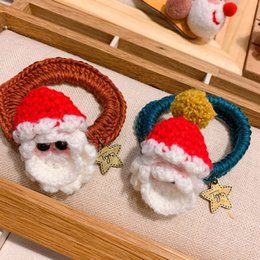 knitted elastic band NZ - Multistyle Woolen Knitting Santa Claus Hair Rubber Band Elastic Hair Band Christmas Gift Fashion Hair Accessories