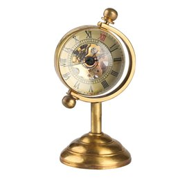 $enCountryForm.capitalKeyWord UK - Unique Spinning Globe Gold Desk Clock for Women Men Creative Gift for Pocket Watch Copper Table Clock Mechanical Pocket Watch