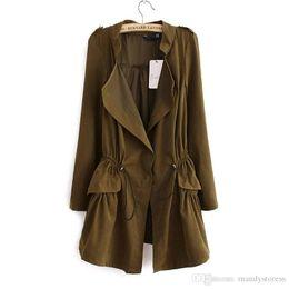 $enCountryForm.capitalKeyWord Australia - Fashion 2016 Korean style Office elegant khaki drawstring Waist Long trench coat for women Casual brand windbreaker female