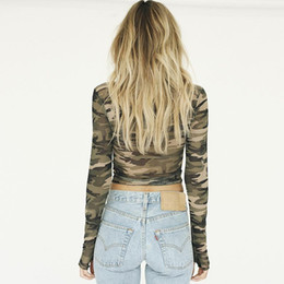 Sexy Army Shirts UK - Womens T Shirt Slim Round Collar Womens Long Sleeves Elastic Nice New Vogue Sexy Camouflage Female Tshirts Size M-l