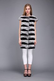 womens vests NZ - lady women real rex rabbit fur chinchilla color long vest outwear fluffy furry winter womens gilet