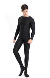 $enCountryForm.capitalKeyWord Australia - Mens Full Body Lycra Spandex Zentai Suit Black Long Sleeve Unitard Adult Zipper Back Black Footed Cosplay Bodysuit Costumes